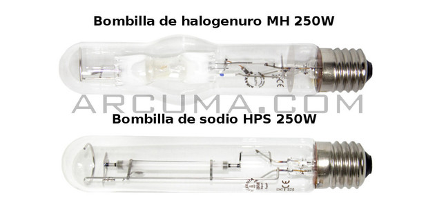 Bombilla de sodio y de halogenuro metalico de 250W