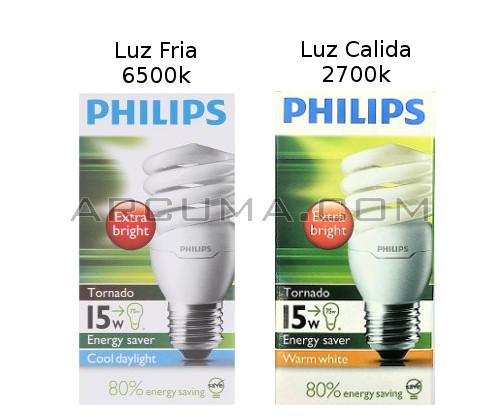 Bombillas de bajo consumo de luz calida y luz fria